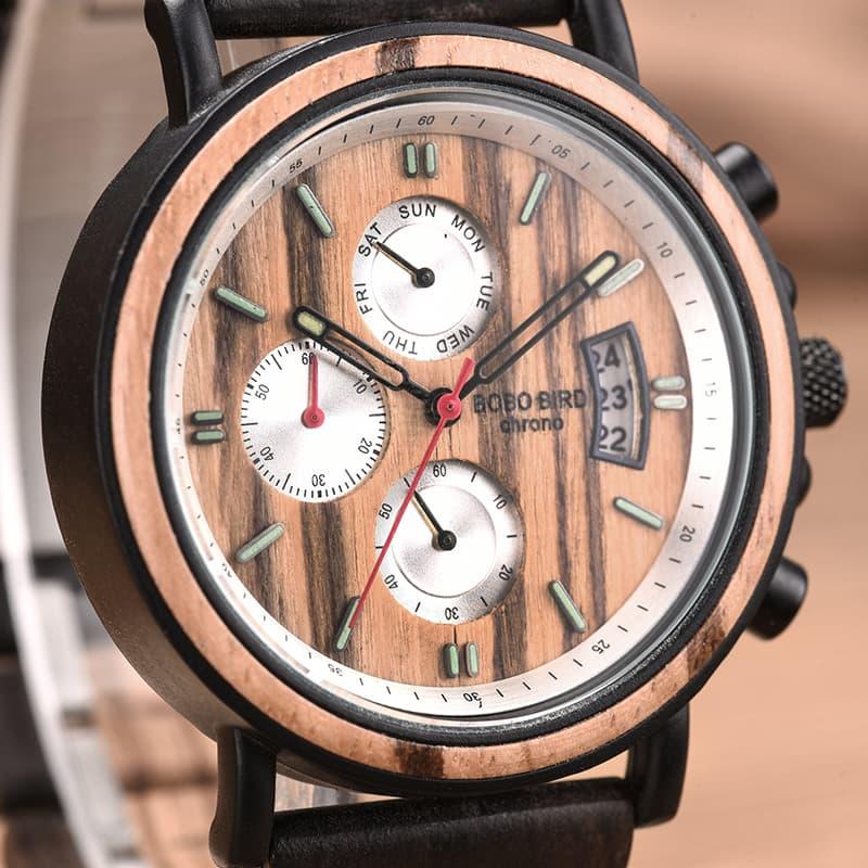 bobo bird wooden watches for men Gareth - Zebrawood S18-3-5