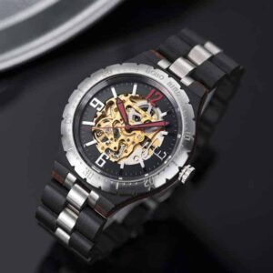 Premium Handcrafted Natural Ebony Wood Automatic Mechanical Movement Wooden Watches for Men Best Gift for Him - Gold S11-1