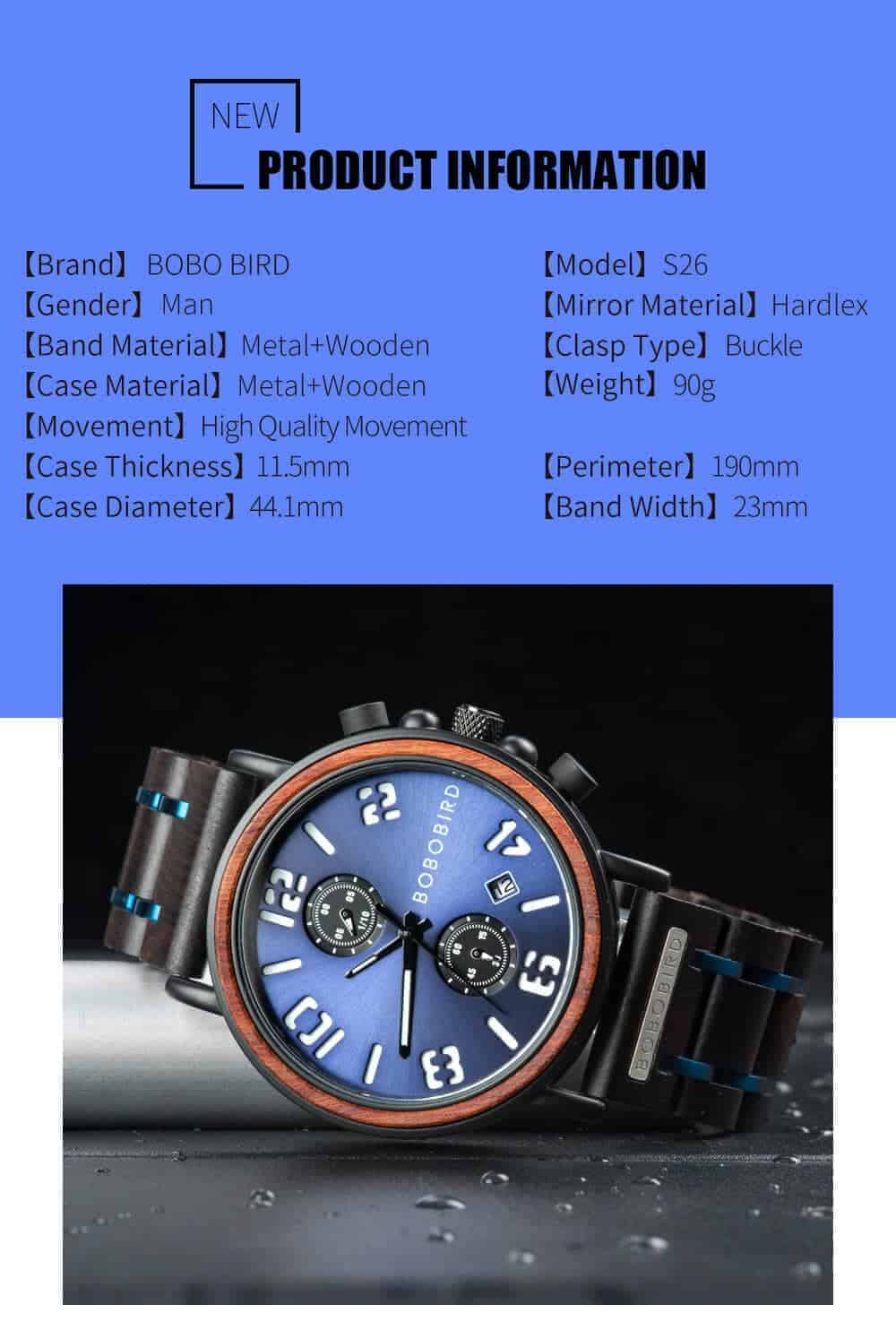 BOBO BIRD Wooden Watches S26 Series Product Details 1