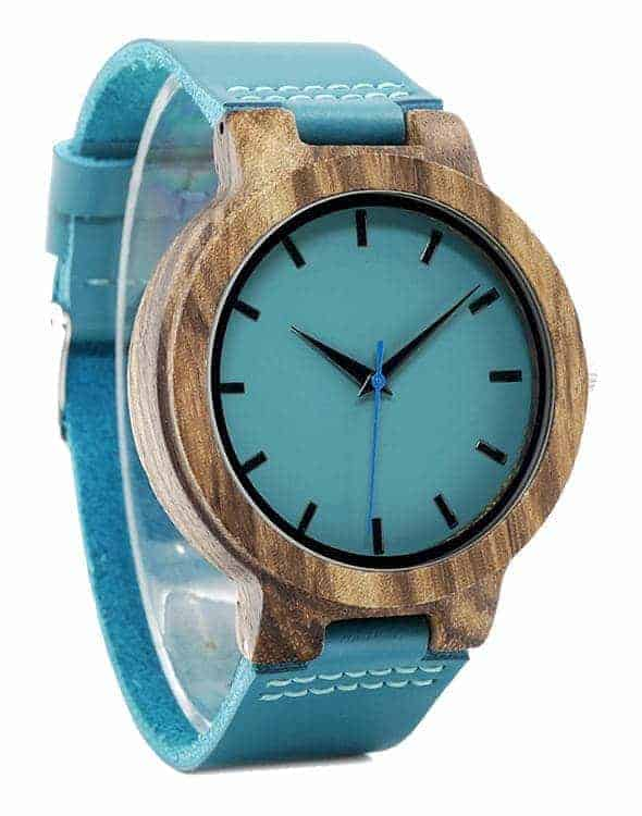 Turquoise Blue Men Wooden Watches Lovers Great Gifts C28