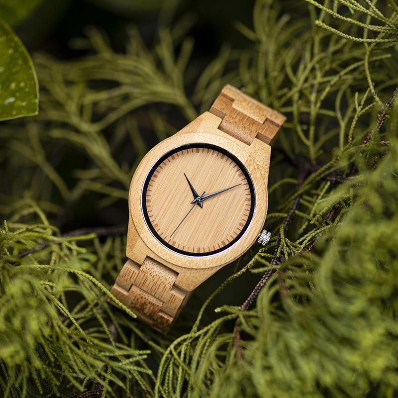 Men's Bamboo Wooden Watch Handmade Natural Bamboo Wooden Strap Japanese Movement Unique and Lightweight D19-1-4