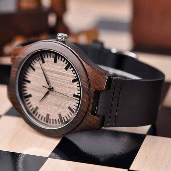 Mens Customized Engraved Wooden Watches Quartz Casual Wristwatches for Men Husband Boyfriend Dad Son Family Friends Personalized Gift