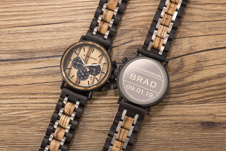 wooden watches engraved - best groomsmen gifts