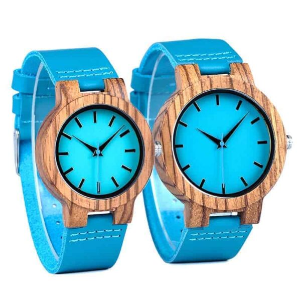 Women Wooden Watches Timepieces Turquoise Blue Lovers Great Gifts C28-1