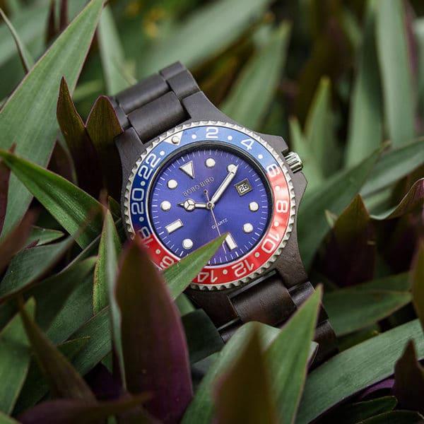Men Dress Wooden Quartz Watch with Calendar Display Natural Wood Watches O25-1