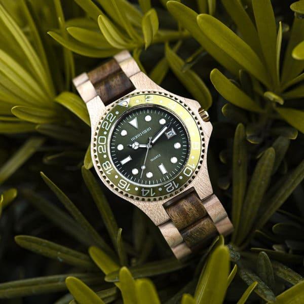 Men Dress Wooden Quartz Watch with Calendar Display Natural Wood Watches O25-2