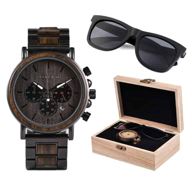 Ebony Men Watch Wooden Sunglasses Suit Present Box Gift