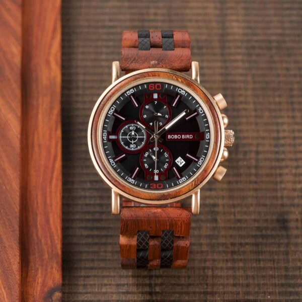 Amaranth wood and stainless steel Handmade men's wooden watches - Gawaine S18-5