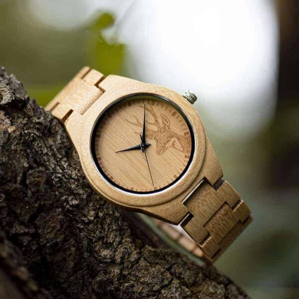 Classic Handmade Natural Bamboo Wood Watches With Deer Head Engrave Dial With Bamboo Strap - D28