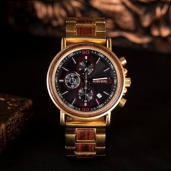 Natural Ebony and Gold Stainless Steel Handmade Engraved Wooden Watch for Men - Lancelot S18-4