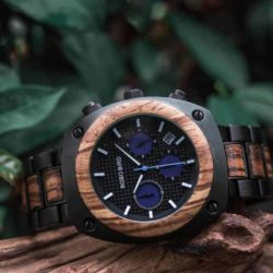 Engraved Wooden Watch For Men Handmade Zebrawood Multifunctional Chronograph Personalized Wood Watch - Commander T08-2