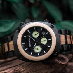 Engraved Wooden Watch For Men Handmade Maple Multifunctional Chronograph Personalized Wood Watch - Commander T08-3