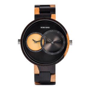 2 Time Zone Design Wooden Quartz Watches Women R10-1