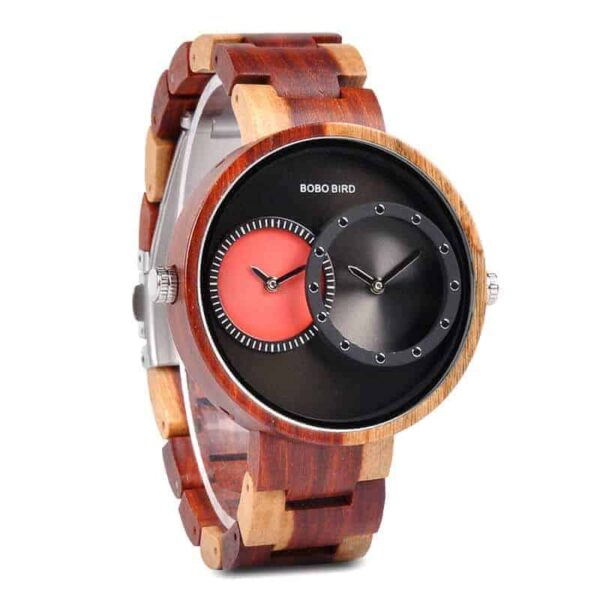 2 Time Zone Wooden Watches R10-2