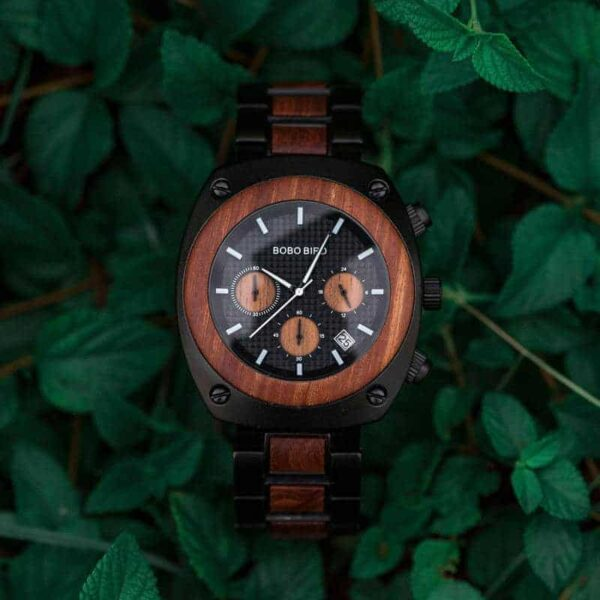 Engraved Wooden Watch For Men Handmade Redwood Multifunctional Chronograph Personalized Wood Watch - Commander T08-1