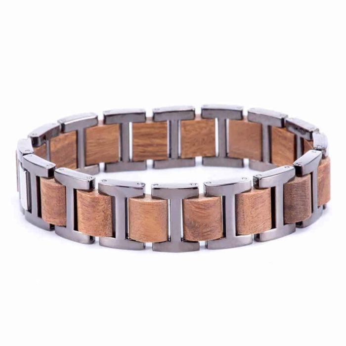 Men's Stainless Steel and Wood Bracelet