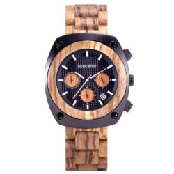 Engraved Wooden Watch For Men Handmade Zebrawood Multifunctional Chronograph Personalized Wood Watch - Commander T08-4