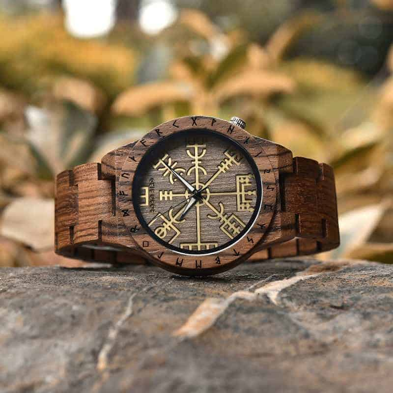 Engraved Wooden Watches The Viking Compass The Runic Compass - Vegvisir T16-3-1