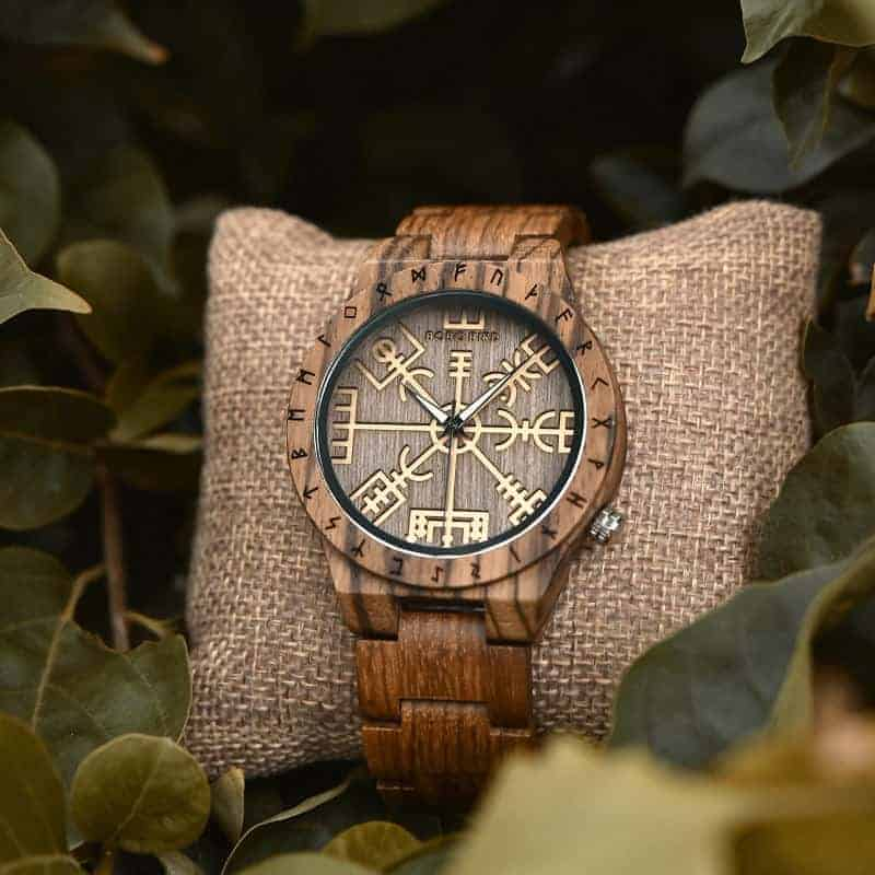 Engraved Wooden Watches The Viking Compass The Runic Compass - Vegvisir T16-3-11