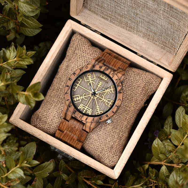Engraved Wooden Watches The Viking Compass The Runic Compass - Vegvisir T16-3-2