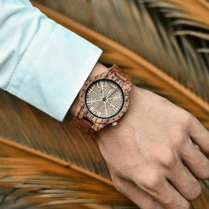 Engraved Wooden Watches The Viking Compass The Runic Compass - Vegvisir T16-3-4