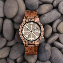 Engraved Wooden Watches The Viking Compass  The Runic Compass - Vegvisir T16-3