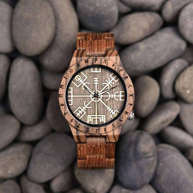 Engraved Wooden Watches The Viking Compass The Runic Compass - Vegvisir T16-3-6