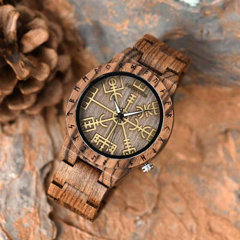 Engraved Wooden Watches The Viking Compass The Runic Compass - Vegvisir T16-3-7