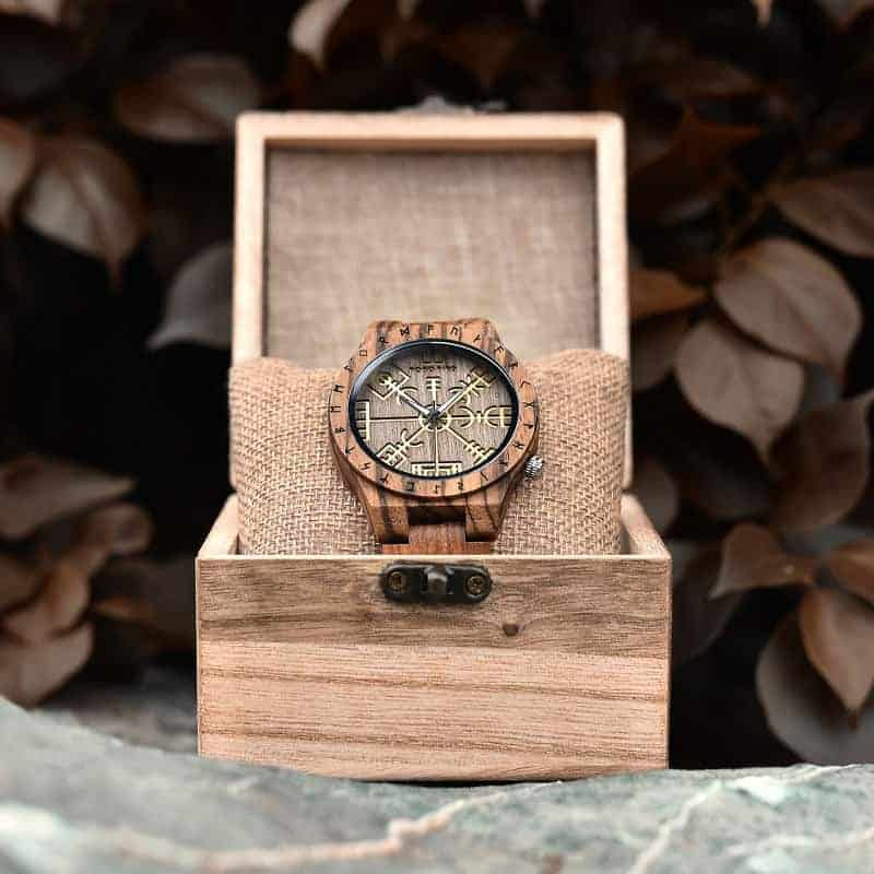 Engraved Wooden Watches The Viking Compass The Runic Compass - Vegvisir T16-3-9