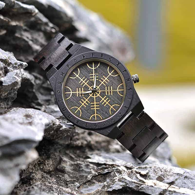 Handmade Natural Ebony Engraved Wooden Watch Scandinavian Runes Helm of Awe T16-1