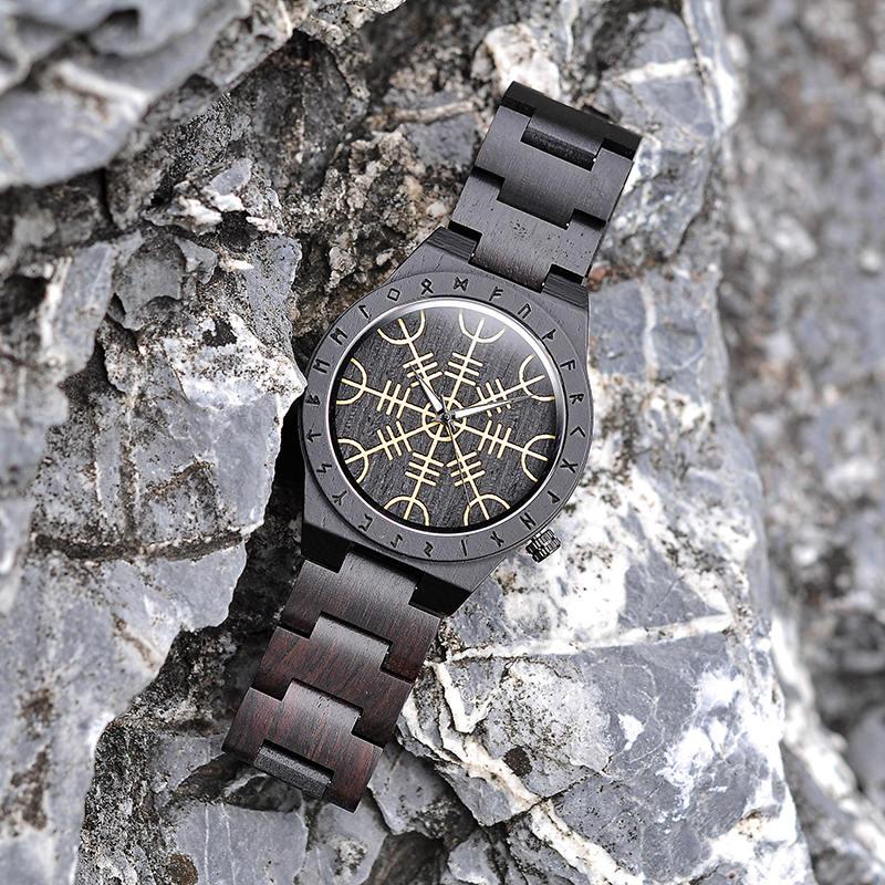 Handmade Natural Ebony Engraved Wooden Watch Scandinavian Runes Helm of Awe T16-1-5