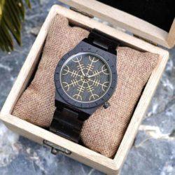 Handmade Natural Ebony Engraved Wooden Watches Scandinavian Runes - Helm of Awe T16-1