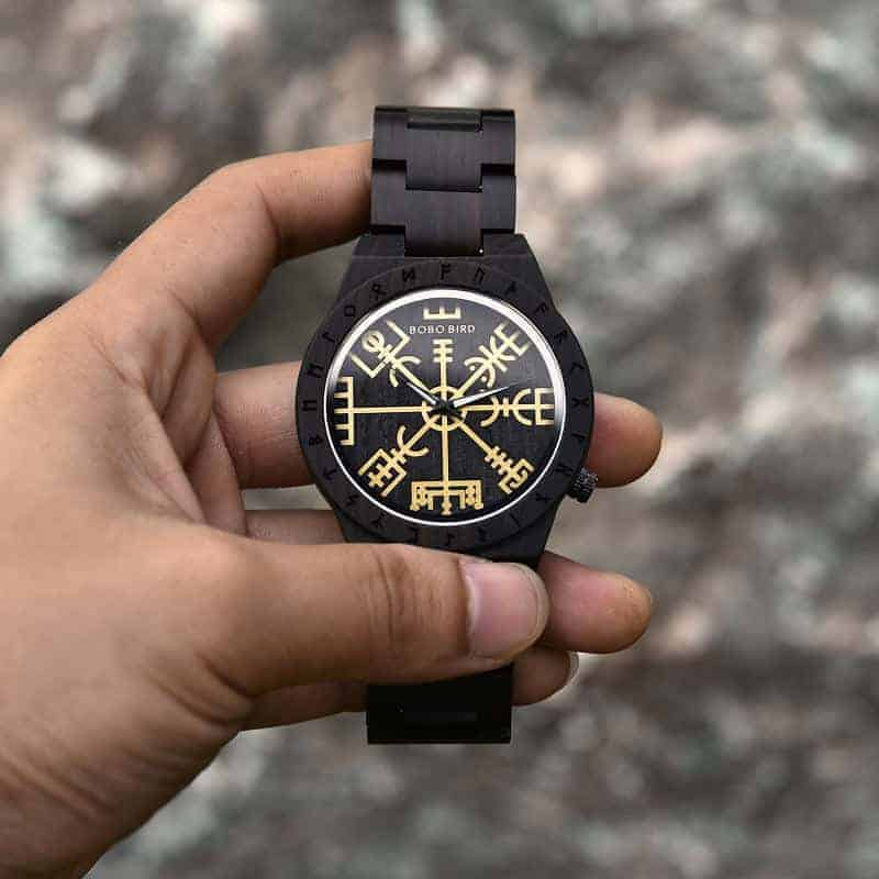 Handmade Natural Ebony wood Engraved Wooden Watches The Viking CompassThe Runic Compass - Vegvisir T16-4-1
