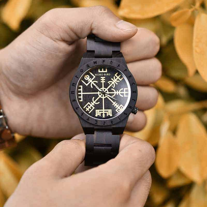 Handmade Natural Ebony wood Engraved Wooden Watches The Viking CompassThe Runic Compass - Vegvisir T16-4-10