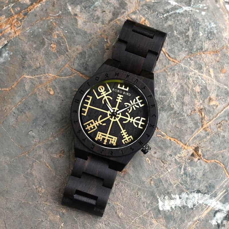 Handmade Natural Ebony wood Engraved Wooden Watches The Viking CompassThe Runic Compass - Vegvisir T16-4-2