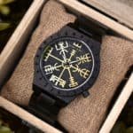 Handmade Natural Ebony wood Engraved Wooden Watches The Viking CompassThe Runic Compass - Vegvisir T16-4-4