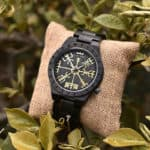 Handmade Natural Ebony wood Engraved Wooden Watches The Viking CompassThe Runic Compass - Vegvisir T16-4-5
