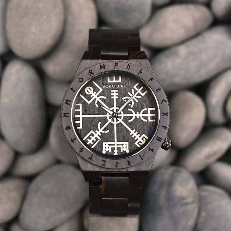 Handmade Natural Ebony wood Engraved Wooden Watches The Viking CompassThe Runic Compass - Vegvisir T16-4-6
