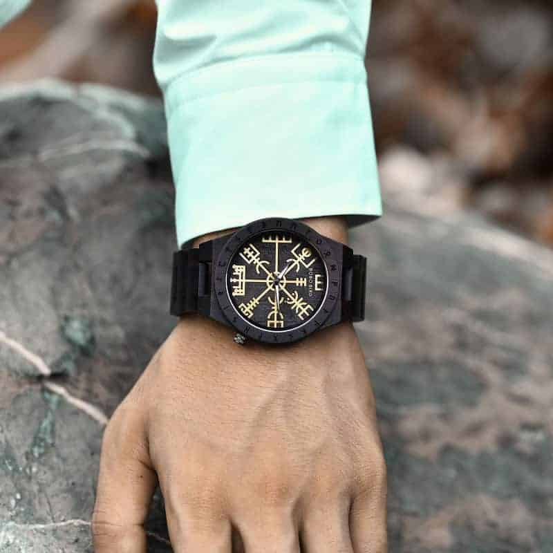 Handmade Natural Ebony wood Engraved Wooden Watches The Viking CompassThe Runic Compass - Vegvisir T16-4-9