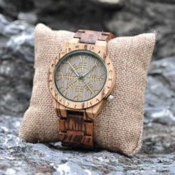 Handmade Natural Zebrawood Engraved Wooden Watches Scandinavian Runes - Helm of Awe T16-2