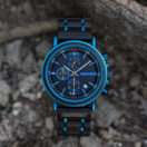 Natural Ebony and Blue Stainless Steel Men's Wooden Chronograph Watch - Kay