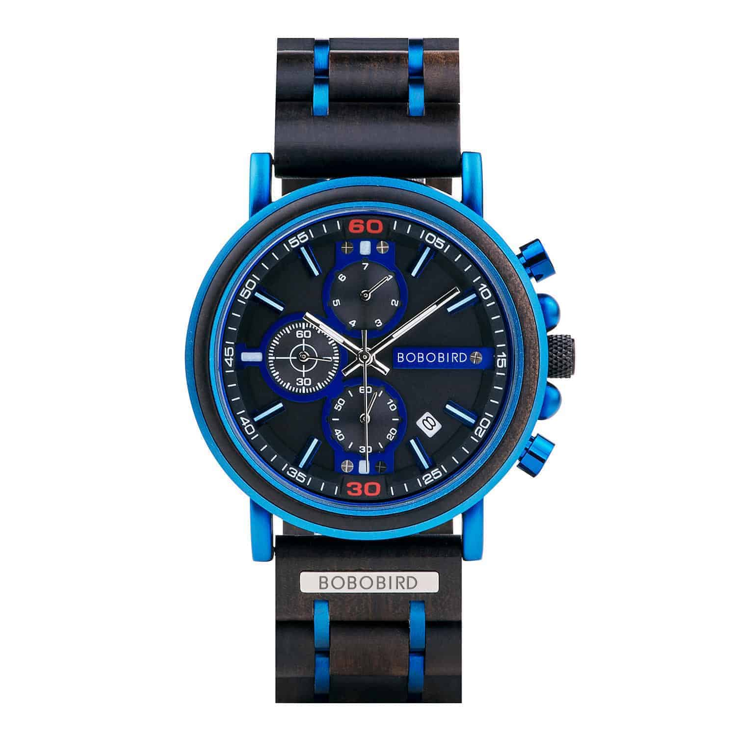 Natural Ebony and Blue Stainless Steel Men's Wooden Chronograph Watch