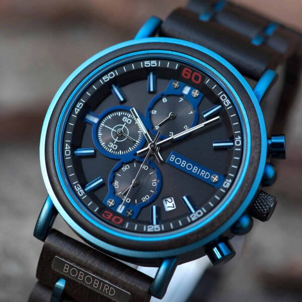 Natural Ebony and Blue Stainless Steel Men's Wooden Chronograph Watch - Kay S18-6