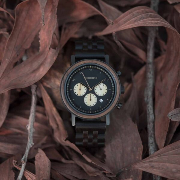 Minimalist Lightweight Handmade Ebony Wooden Wrist Watch Japanese Quartz Movement - Jupiter T27-1