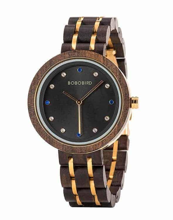 wooden watches for women Polaris ebony T33