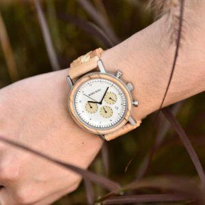 Minimalist Lightweight Handmade Olivewood Wooden Wrist Watch Japanese Quartz Movement - Neutron Star T27-3