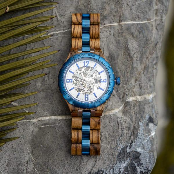 Luxury Handmade Natural Zebra Wood Automatic Mechanical Movement Men's Wooden Watches - General Q29-3