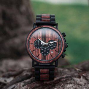 Mens Wooden Watches Classic Handmade Red & Sandalwood Anniversary Gift – Shine