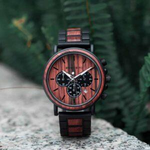 Mens Wooden Watches Classic Handmade Red & Sandalwood Anniversary Gift – Shine P09-3