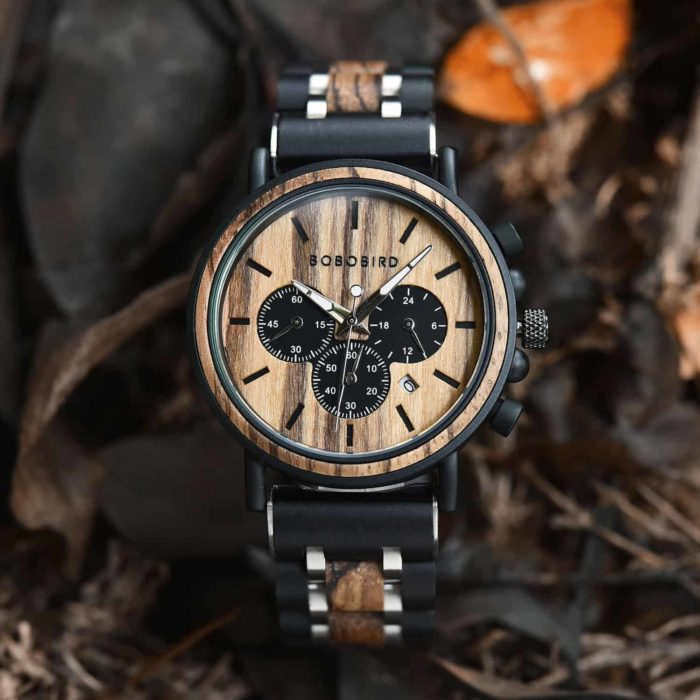 Natural Ebony & Zebrawood & Stainless Steel Combined Wood Watch Personalized Gifts For Him - North